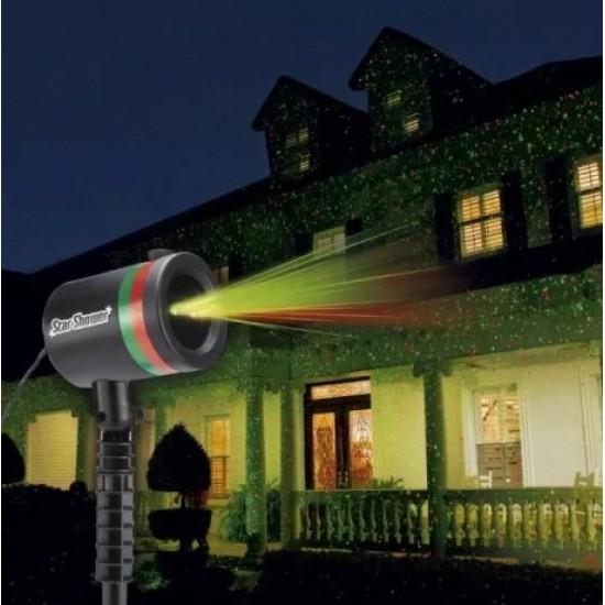 Водозащитен Лазерен коледен прожектор с точки с 1 г. Гаранция - Star shower