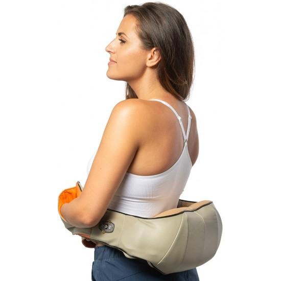 Шиацу масажор със затопляща функция, подходящ за цялото тяло, с 4 бутона, 12V/220V, Бежов.