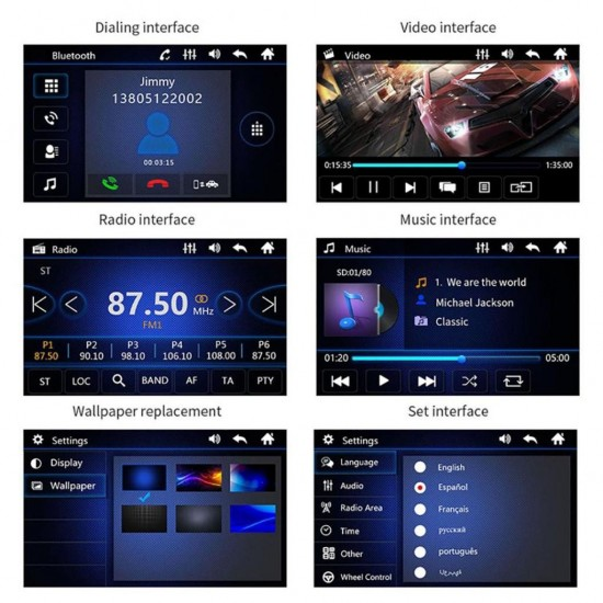Мултимедия с вадещ се екран + камера за задно виждане, Универсален, Bluetooth, FM, MP3, MP4, МР5 плейър