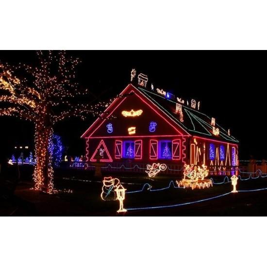 Коледен светещ LED маркуч, 10 м, многоцветен, с адаптор за 220V RGB