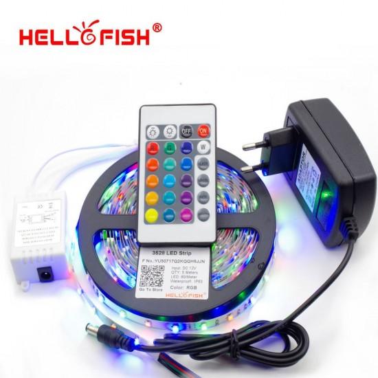 LED лента цветна RGB - 5 метра водоустойчива с дистанционно управление