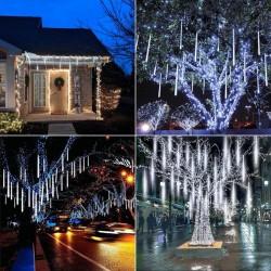 LED висулки падащ сняг , 8 бр.x 50см пури с функция изстрелваща се светлина, RGB, IP44, 220V