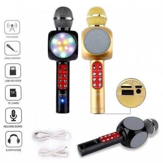 Караоке МИКРОФОН+колона, безжичен с блутут,LED светлини и USB Флашка