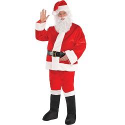 Костюм Дядо Коледа 7 части от висококачествена луксозна материя-Кадифе