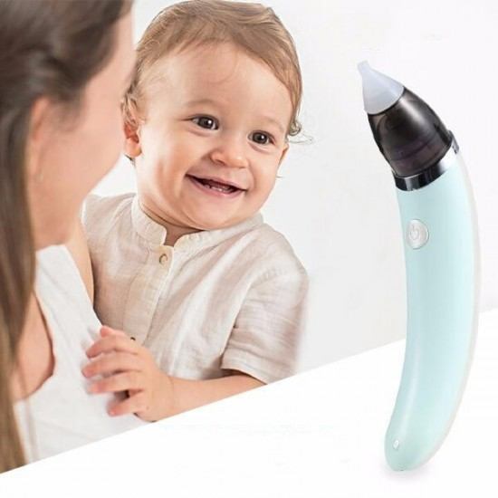 Аспиратор за нос за бебета и деца, електрически, USB зареждане, зелен / бял